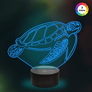 Kids 3D Turtle Night Light Optical Illusion Lamp with 7 Colors Changing Birthday Xmas Valentine's Day Gift Idea for Sport Fan Boys Girls