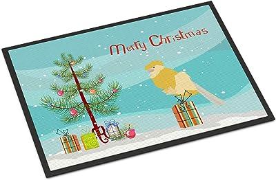 Caroline's Treasures French Curly Canary Merry Christmas Door Mat doormats, Multicolor