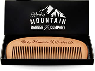 Hair Comb - Wood with Anti-Static & No Snag Handmade Brush for Beard, Head Hair, Mustache with Design in Gift Box by Rocky Mountain