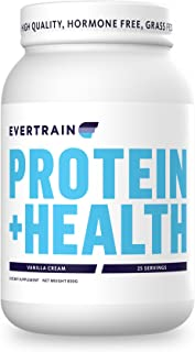 EVERTRAIN PROTEIN + HEALTH - Grass Fed, Hormone and Antibiotic Free Whey Protein Powder - Recovery and Immune Boosting Supplement with Digestive Enzymes, 25 Servings (Vanilla Cream)