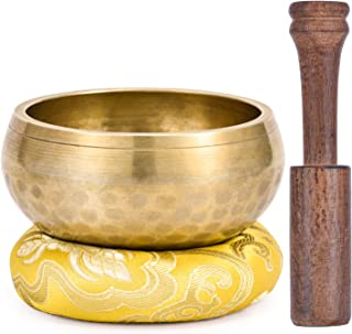 Moukey Tibetan Singing Bowl 4.1 Inch Meditation Gong Zen Yoga Bowl Set With Wooden Striker And Cushion Pillow