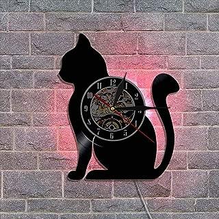 常夜灯ビニールレコード壁掛け時計 サイレントクォーツムーブメント - ネコ - ユニークなホームアートの装飾品,D