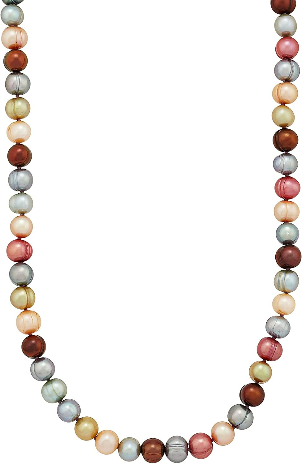 Amazon Com Honora 7 8 Mm Gelato Ringed Freshwater Cultured Potato Pearl Strand Necklace In Sterling Silver 36 Clothing
