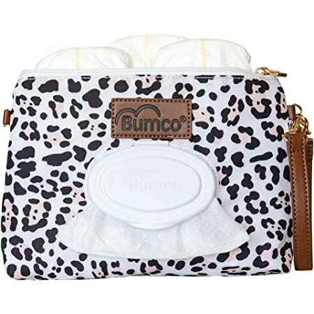 Baby Bumco Diaper Clutch Bag - Water Resistant; Lightweight; Refillable Wipes Dispenser; Portable Changing Kit (Snow Leopard)
