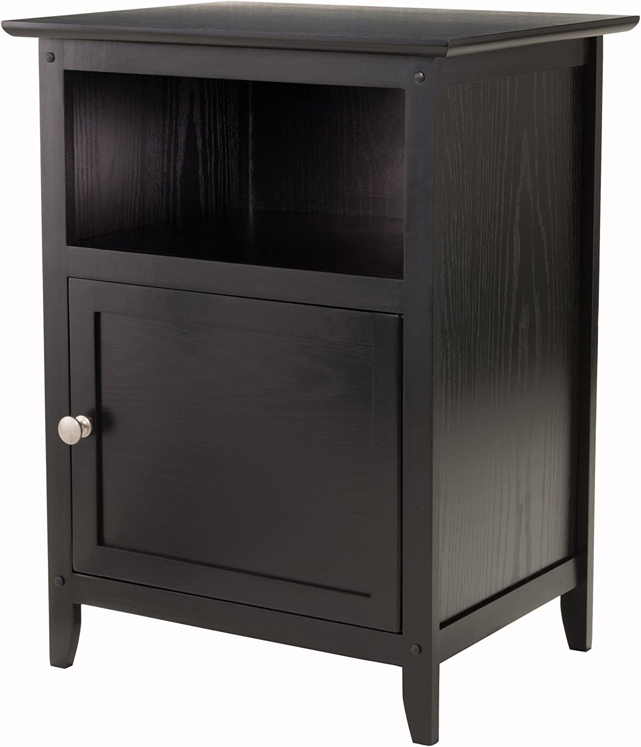 Winsome Wood End Table Night Stand with Door and Shelf, Black