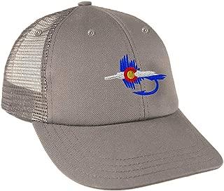 Custom Trucker Hat Baseball Cap Colorado Flag Fishing Fly Embroidery Snaps