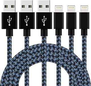iPhone 充電ケーブル ライトニングケーブル 【3本セット 1M】 高速データ転送 急速充電 USB同期&充電 高耐久 Lightning ケーブル ナイロン編み iPhone XS/XS Max/XR/X/8/8Plus/7/7 Plus/6s/6s Plus/iPad/iPod各種対応 (ブラックブルー)
