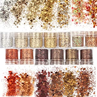 Laza 13 Colors 4.6oz /130g Nail Art Acrylic Nails Powder Glitter Mixed Retro Copper Chunky Sequins Iridescent Flakes Ultra-thin Paillette Sparkles Tips for Cosmetic Face Eyes Body Hair - Golden Age