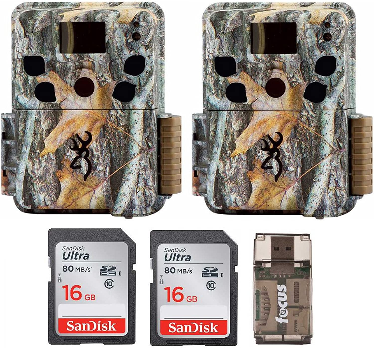 Two Browning Dark Ops HD Pro Trail Cameras (BTC6HDP) with 16GB Memory Cards and Focus Card Reader