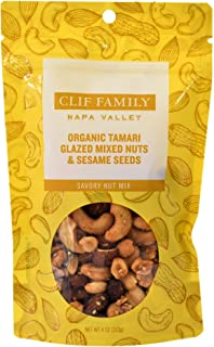 Clif Family - Napa Valley Organic Savory Nut Mixes, 4 Ounce - Pack of 2 (Tamari Glazed Mixed Nuts and Sesame Seeds)