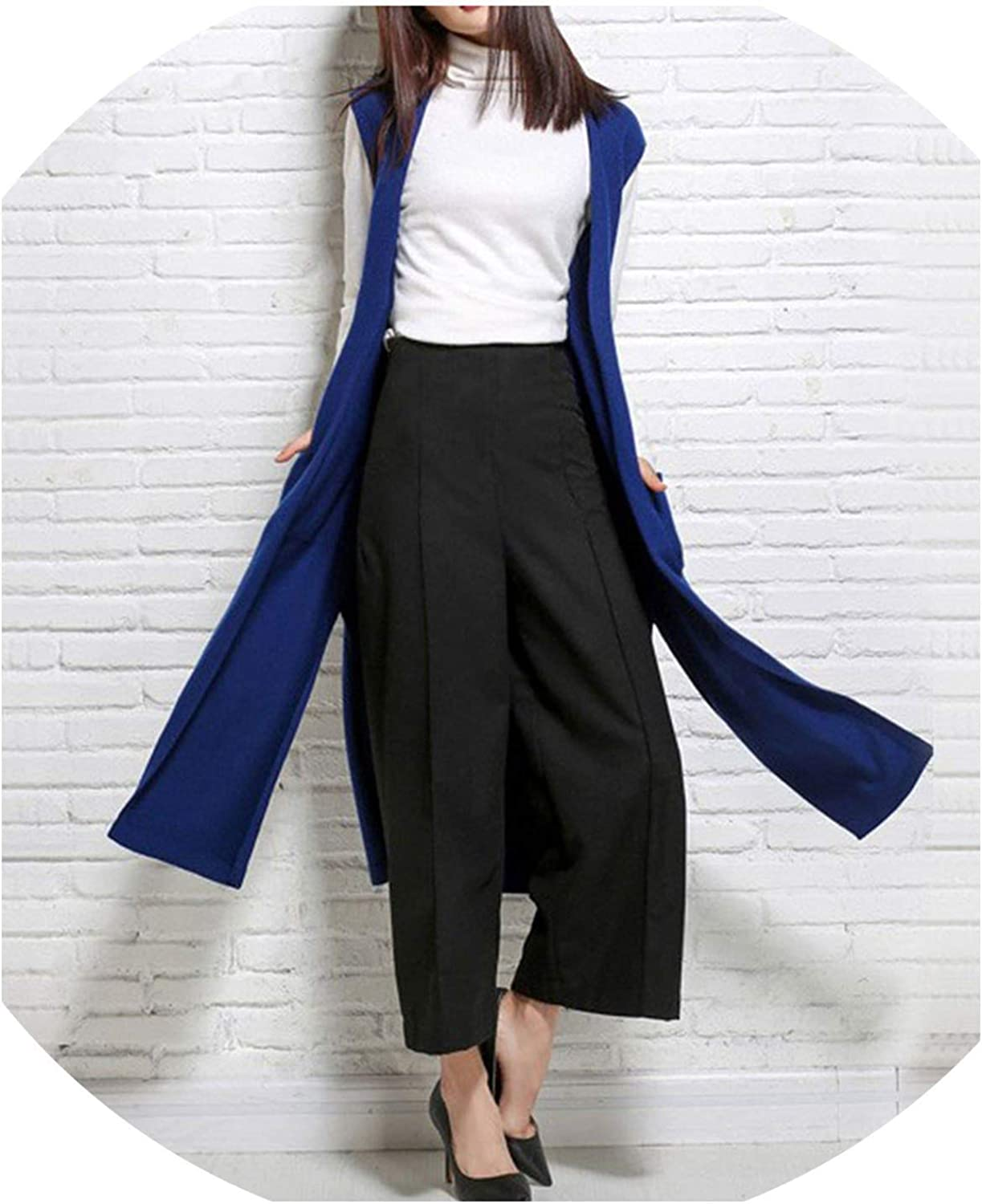colorfulspace Women Knitted Cashmere Cashmere Long Cardigan with Pocket Fashion Split Style Sleeveless Knitwear Sweater