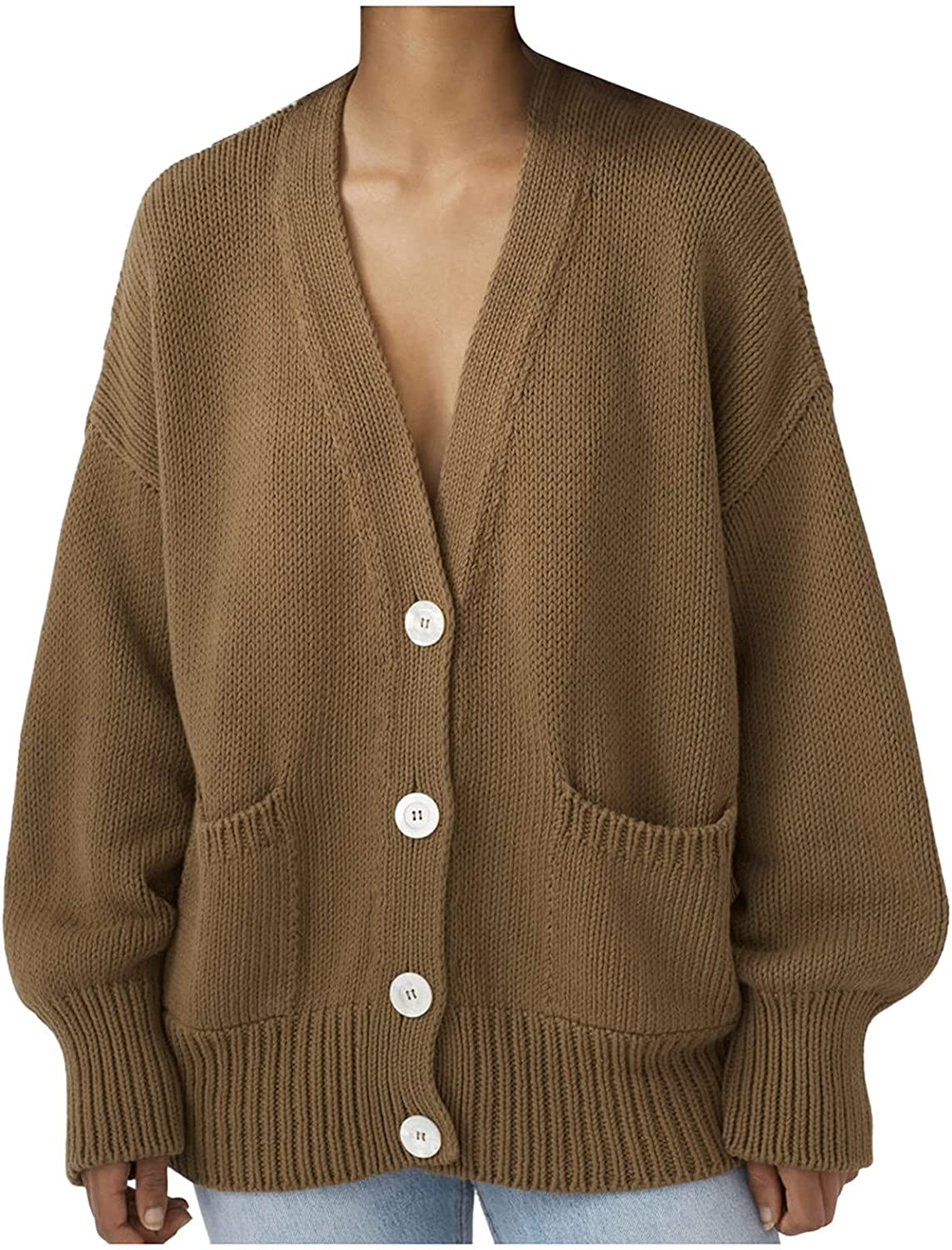 Women's Open Front Knit Cardigan Sweaters Oversized Long Sleeve Button Down V Neck Knitted Sweaters Outerwear with Pockets