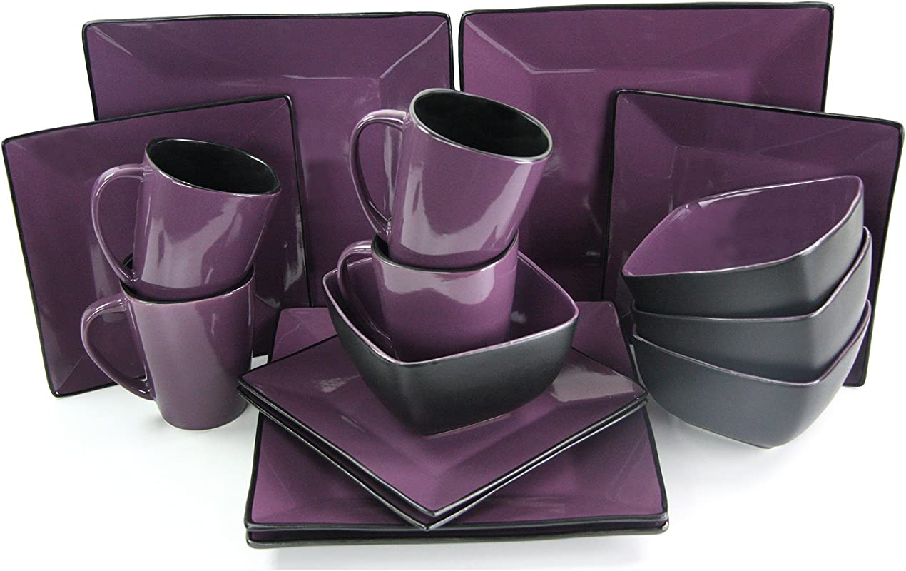 Elama 16 Piece Loft Modern Premium Stoneware Dinnerware Set With Complete Settings For 4 Mulberry