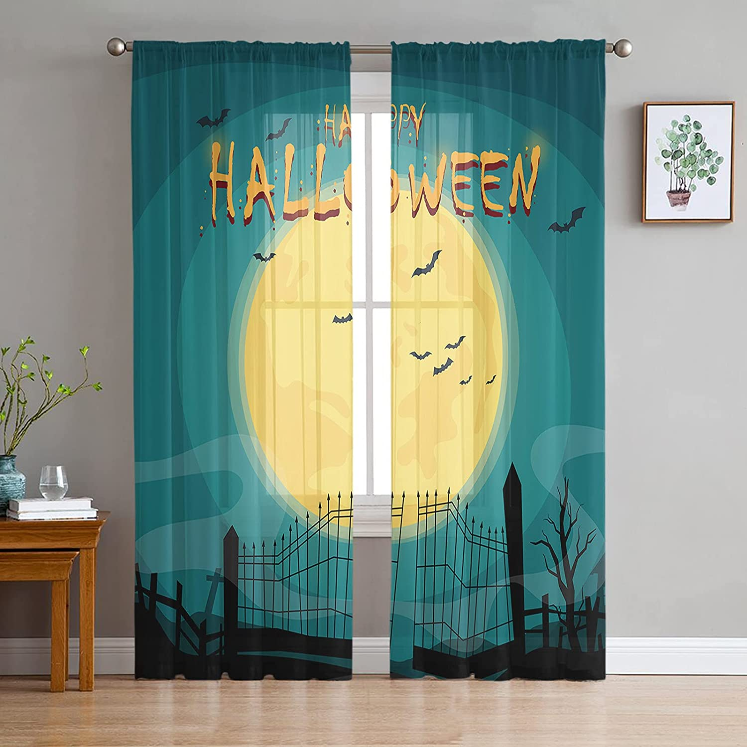 2 Direct store Panels Rapid rise Semi Sheer Voile Curtains Happy Halloween Nig Moon Full