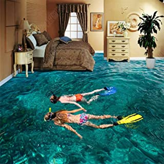 3D Wall Murals Swimming Pool Diving Bathroom Bedroom 3D Floor Tile Painting Self Adhesive Wallpaper,200x140cm