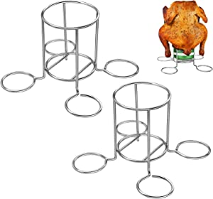 Chicken Holder Pack of 2, OVERTANG Stainless Steel Beer Can Chicken Holders Rack Stand for Grill, Roaster, Smoker, Oven, BBQ, Silver