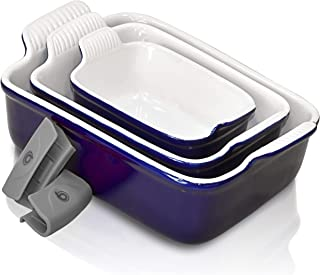 PERLLI Ceramic Bakeware Set, 3 Piece Nonstick Rectangular 9x13 Baking Pan Set, Porcelain Bakeware Lasagna Cookware Pans Ca...