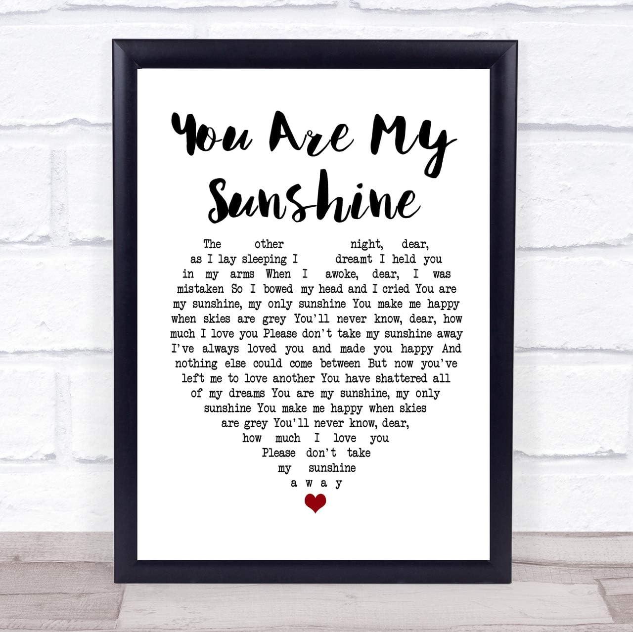 Bring Me Sunshine White Heart Song Lyric Print
