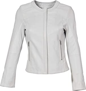 HOL Real Leather Collarless Jacket for Women Tailored Cut Slim Fit Lola White