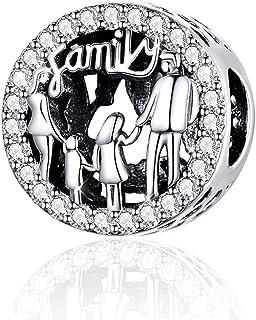Abalorio de plata de ley 925, diseño de familia de cuatro personas