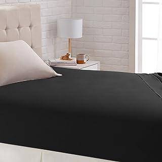Amazon Basics Drap-housse satiné, 140 x 200cm, Noir