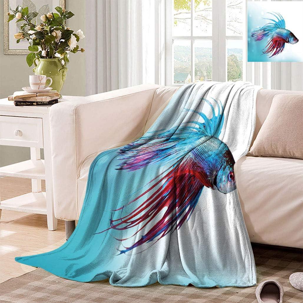 Superior Aquarium Travel Throw Blanket Siamese Fish Fighting Max 81% OFF Swimm Betta