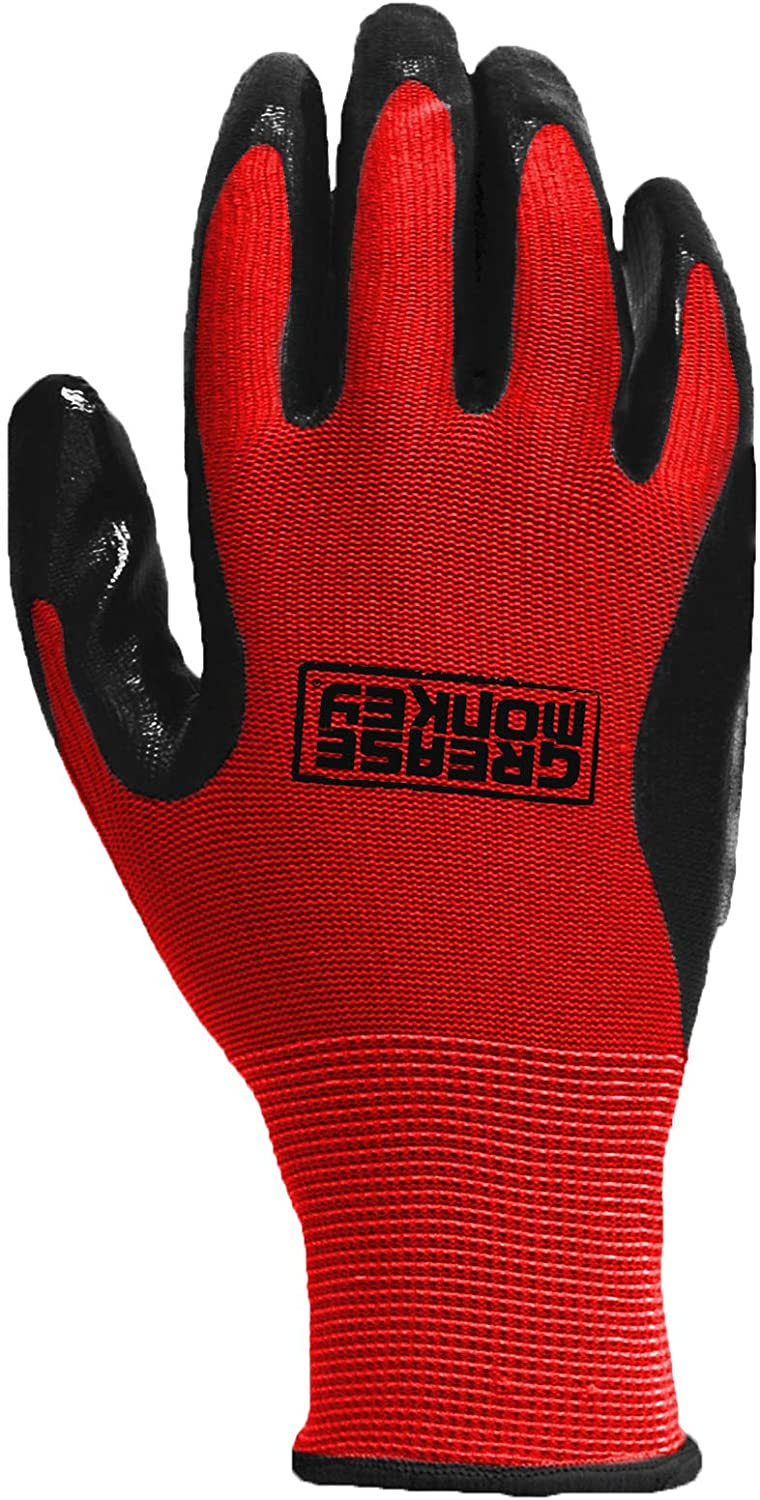 Grease Monkey General Purpose Nitrile Gloves free shipping Work L Coated Raleigh Mall Size