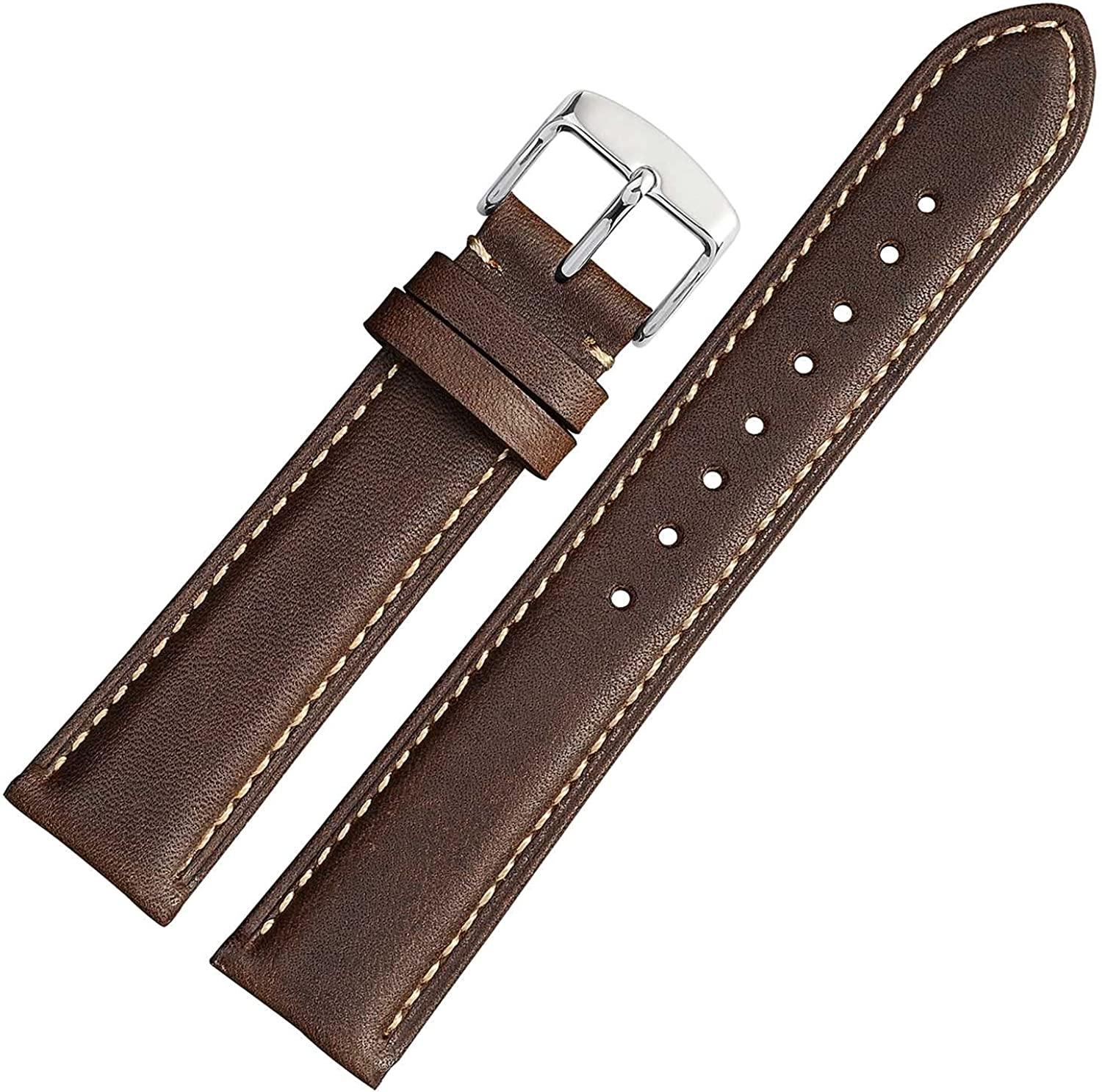 WOCCI Vintage Leather Watch Bands with Stainless Silver Buckle, Replacement Strap 14mm 16mm 18mm 19mm 20mm 21mm 22mm 23mm 24mm