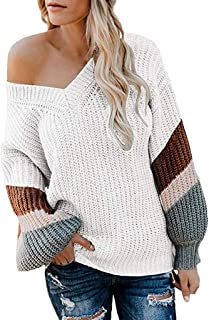 Women's V Neck Long Sleeve Striped Knitted Loose Pullover Sweater 2019 New