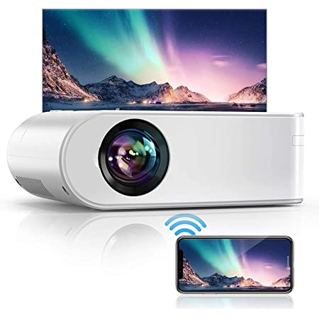 """YABER V2 WiFi Mini Projector 7000L [Projector Screen Included] Full HD 1080P and 200"""" Supported, Portable Wireless Mirroring Projector for iOS/Android/TV Stick/PS4/PC Home & Outdoor (White)"""