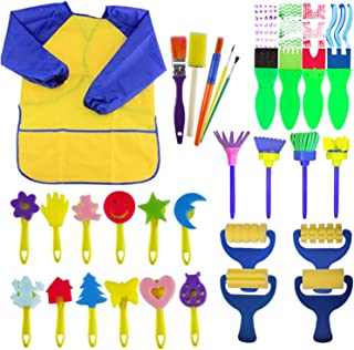 EVNEED Paint Sponges for Kids,29 pcs of Fun Paint Brushes for Toddlers.Coming with Sponge Brush, Flower Pattern Brush, Bru...