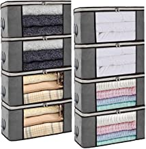 Isbasa 8 Pack Foldable Clothes Organizer Clothing Storage Bags with Clear Window Sturdy Zipper and Reinforced Handle for B...