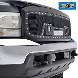 EAG Rivet Grille Stainless Steel Wire Mesh With LED Lights Fit for 99-04 Ford Super Duty F250/F350