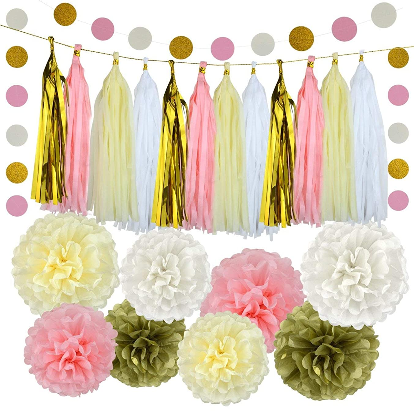Pistha 30 PCS Bachelorette Party Decorations Party Decoration Paper 8 PCS Tissue Paper Pom Pom 20 PCS Tissue Tassel 2 PCS Garland Polka Dot Paper with Some Golden Lines