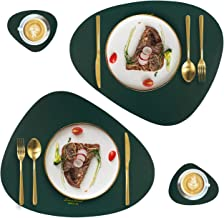 Leather Placemats and Coasters Set of 4 (2 Table Mats and 2 Coffee Mats), Waterproof Easy to Clean Heat Resistant Non Slip...