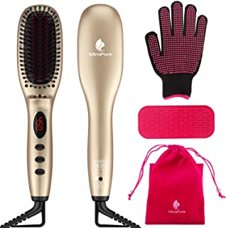 Sponsored Ad - Hair Straightener Brush with Ionic Generator by MiroPure, 30s Fast MCH Ceramic Even Heating, 11 Temperature...