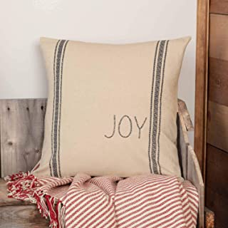 Piper Classics Joy Printed Grain Sack Pillow Cover, 18