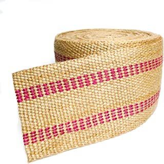 Upholstery/Craft Jute Webbing (Burlap) 3.5 Inches X 10 Yards-Natural W/Red Stripes