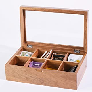 Home Euphoria Premium Natural Bamboo or Warm Acacia Tea Box Organizer with Real Glass Lid For Tea Storage With 8 Adjustable Compartments. (Acacia)