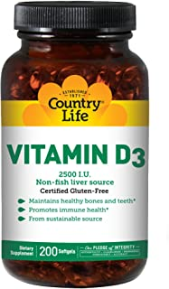 Country Life Vitamin D3 2500 IU - 200 Softgels - Promotes Immune Health - Maintains Healthy Bones and Teeth