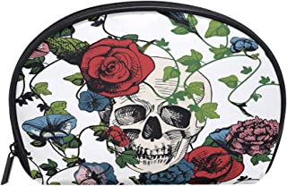 ALAZA Rose Skull Half Moon Cosmetic Makeup Toiletry Bag Pouch Travel Handy Purse Organizer Bag for Women Girls