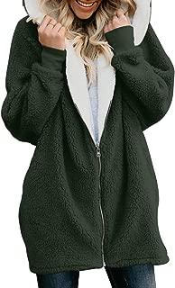 Womens Fuzzy Fleece Open Front Hooded Cardigan Coats Loose Outwear (S-XXL)