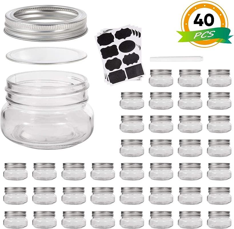 Mini Mason Jars Glass Jar 5OZ With Regular Lids And Bands Ideal For Jam Honey Wedding Favors Shower Favors Baby Foods 40 PACK
