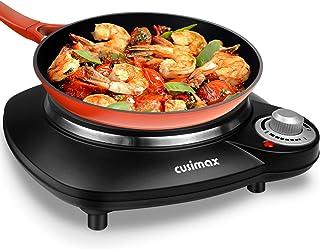 CUSIMAX Plaque de cuisson électrique individuelle - 1000 W - En fonte - Portable - Avec pieds en caoutchouc antidérapants...