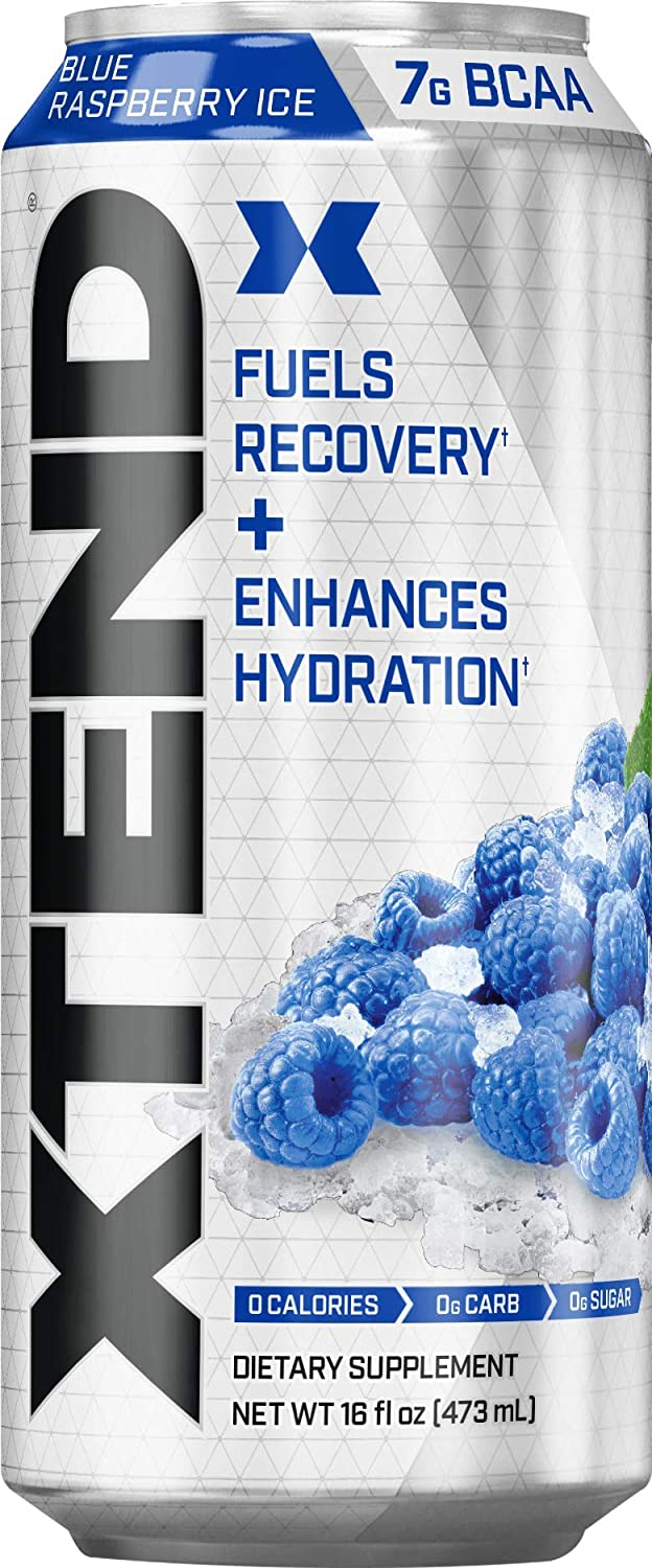 XTEND Carbonated Zero Sugar Hydration & Recovery Drink, Branched Chain Amino Acids, Electrolytes + Performance BCAAs, Blue Raspberry Ice, 16 Ounce Cans (Pack of 12)