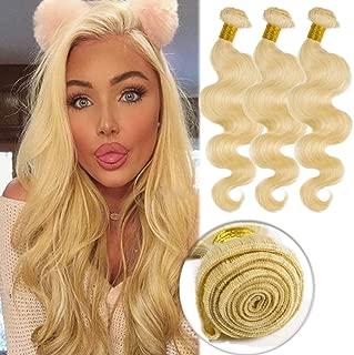 #613 Bleach Blonde Human Hair 3 Bundles 300g Body Wave Unprocessed Brazilian Virgin Human Hair Sew in Extensions for Women Wavy Curly Hair Weave 20