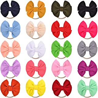 Big Bows Baby Nylon Headbands, Hair Bow, Rubber Bands for Babies and Newborns, Pack of 20