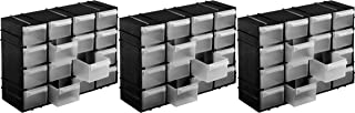 Kigima Sortierkasten Kleinteilemagazin 16 Fächer 22x15x8cm 3er Set Schwarz