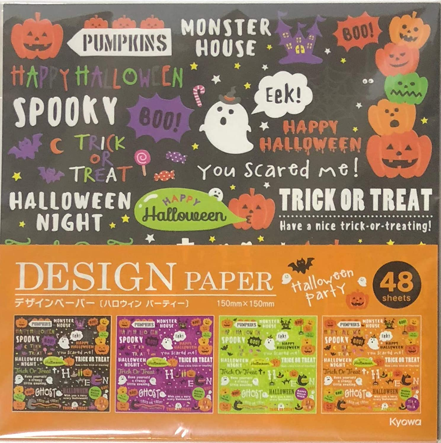 Halloween Character Design Paper 4design 4color 48 Sheets Origami Chiyogami 15×15cm Paper Stationery Japan (Type-D)