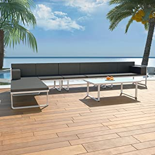vidaXL 5 Piece Garden Lounge Set Textilene Aluminium Black